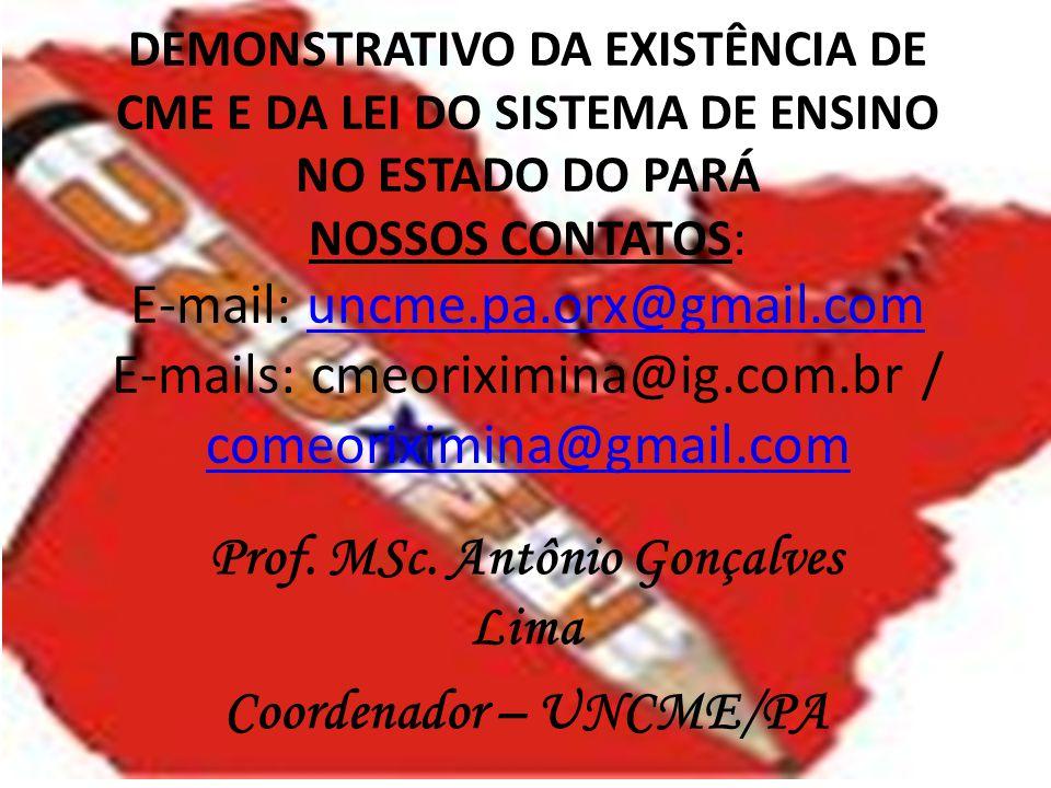Prof. MSc. Antônio Gonçalves Lima Coordenador – UNCME/PA