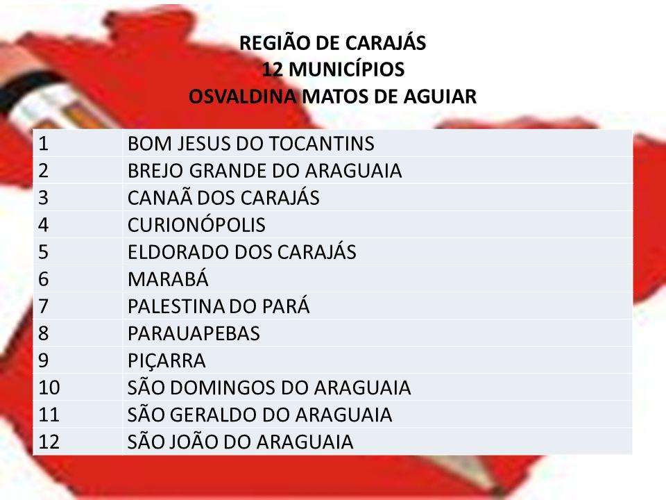 REGIÃO DE CARAJÁS 12 MUNICÍPIOS OSVALDINA MATOS DE AGUIAR