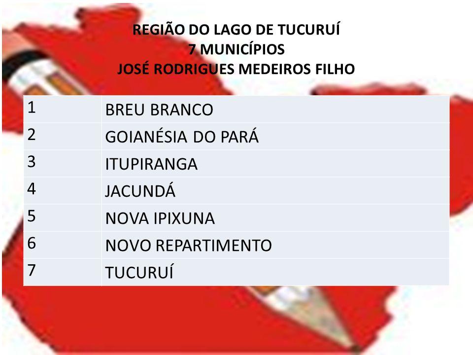 REGIÃO DO LAGO DE TUCURUÍ 7 MUNICÍPIOS JOSÉ RODRIGUES MEDEIROS FILHO