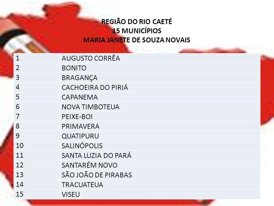 REGIÃO DO RIO CAETÉ 15 MUNICÍPIOS MARIA JANETE DE SOUZA NOVAIS