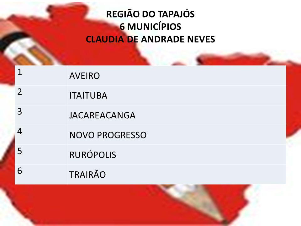 REGIÃO DO TAPAJÓS 6 MUNICÍPIOS CLAUDIA DE ANDRADE NEVES
