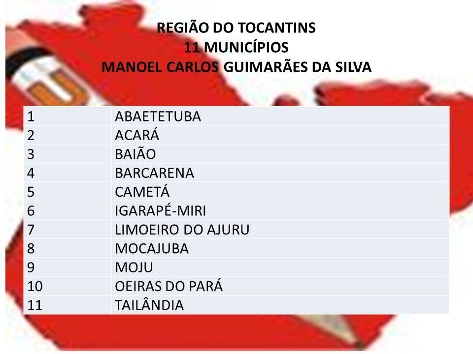 REGIÃO DO TOCANTINS 11 MUNICÍPIOS MANOEL CARLOS GUIMARÃES DA SILVA