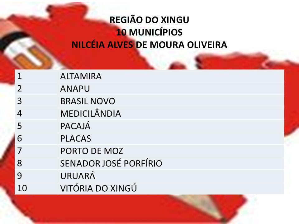 REGIÃO DO XINGU 10 MUNICÍPIOS NILCÉIA ALVES DE MOURA OLIVEIRA