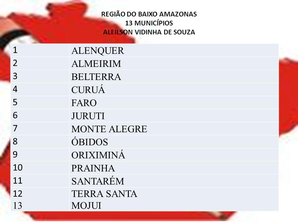 REGIÃO DO BAIXO AMAZONAS 13 MUNICÍPIOS ALEILSON VIDINHA DE SOUZA