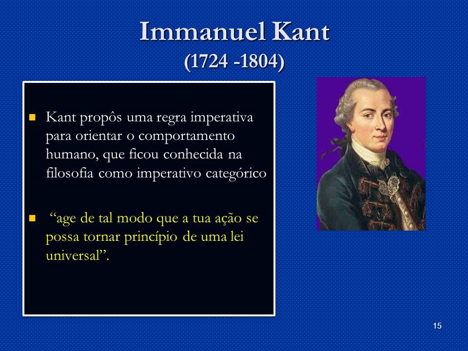 Immanuel Kant (1724 -1804)