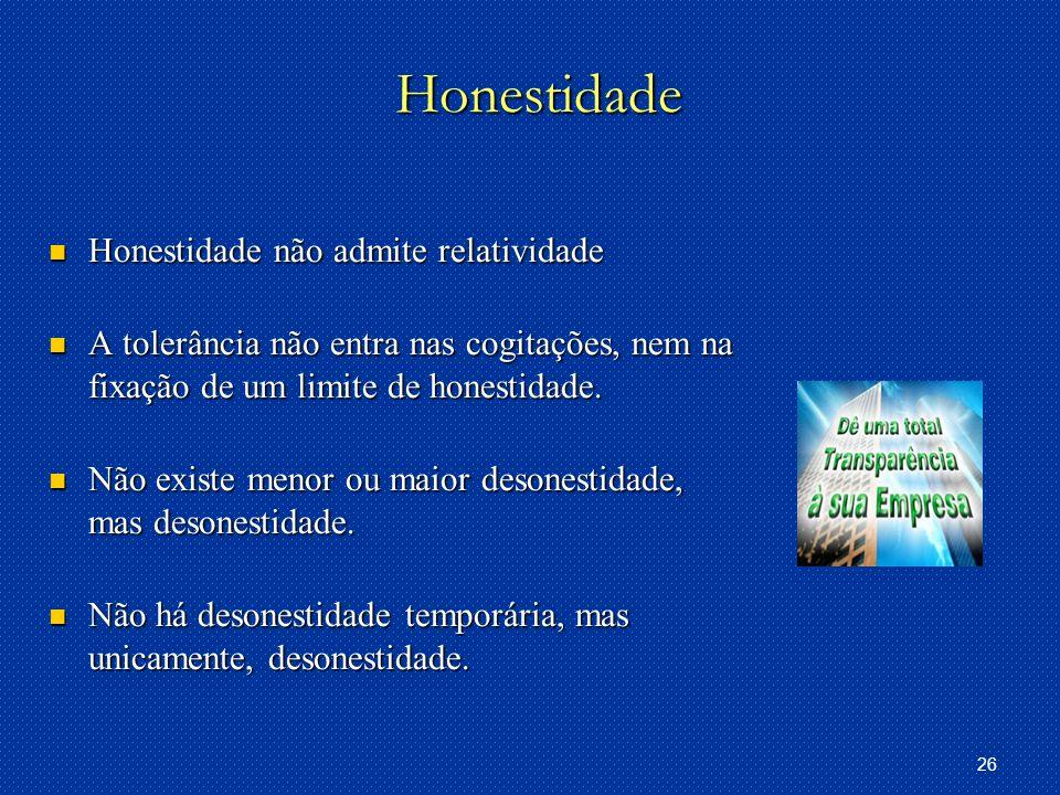 Honestidade Honestidade não admite relatividade