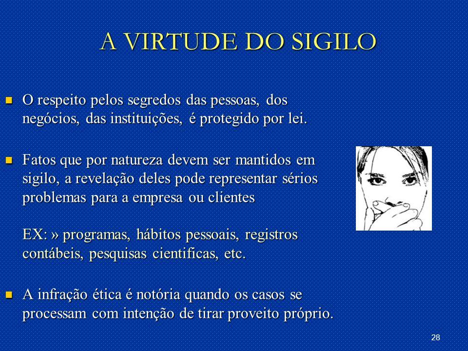A VIRTUDE DO SIGILO O respeito pelos segredos das pessoas, dos negócios, das instituições, é protegido por lei.