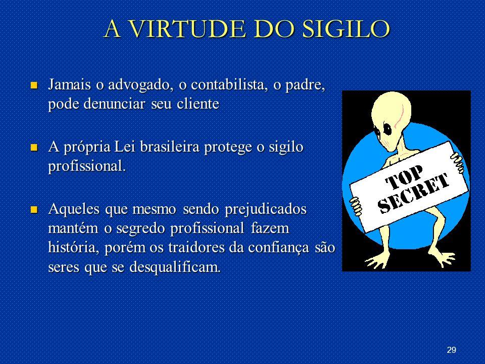 A VIRTUDE DO SIGILO Jamais o advogado, o contabilista, o padre, pode denunciar seu cliente. A própria Lei brasileira protege o sigilo profissional.