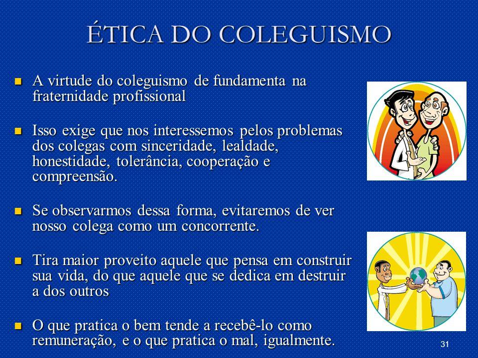 ÉTICA DO COLEGUISMO A virtude do coleguismo de fundamenta na fraternidade profissional.