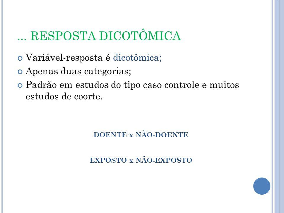 ... RESPOSTA DICOTÔMICA Variável-resposta é dicotômica;