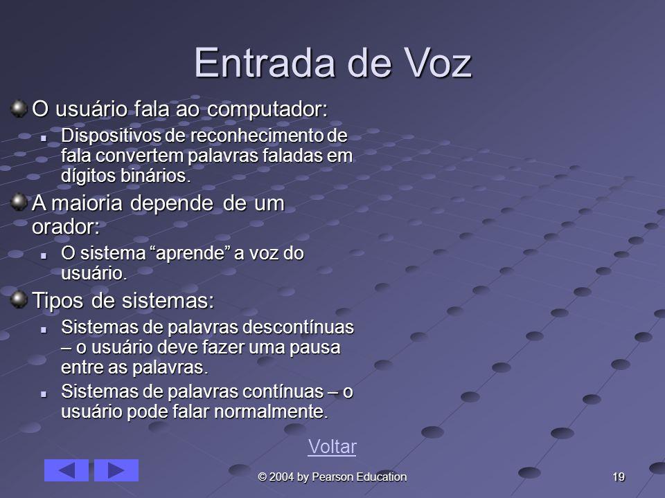 Entrada de Voz O usuário fala ao computador: