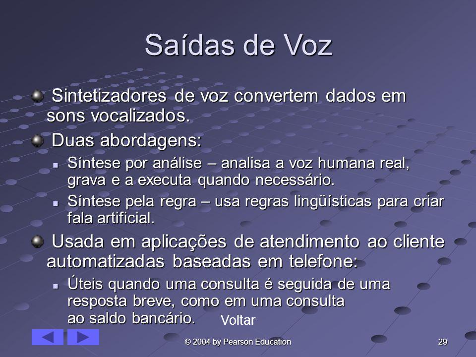 Saídas de Voz Sintetizadores de voz convertem dados em sons vocalizados. Duas abordagens: