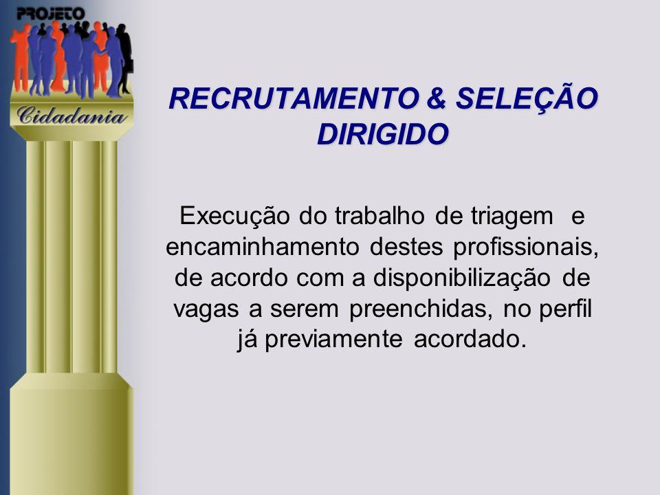 RECRUTAMENTO & SELEÇÃO DIRIGIDO Execução do trabalho de triagem e encaminhamento destes profissionais, de acordo com a disponibilização de vagas a serem preenchidas, no perfil já previamente acordado.