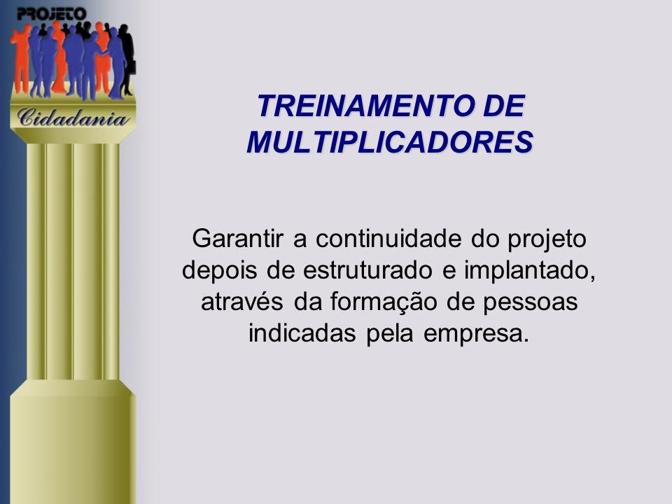 TREINAMENTO DE MULTIPLICADORES Garantir a continuidade do projeto depois de estruturado e implantado, através da formação de pessoas indicadas pela empresa.