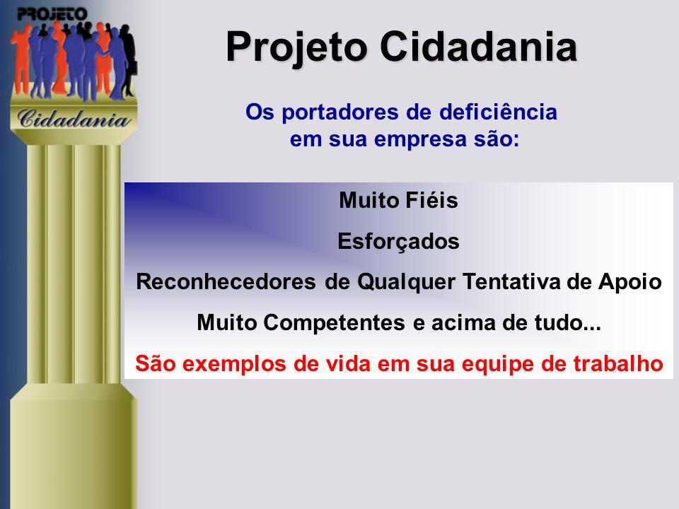 Projeto Cidadania Os portadores de deficiência em sua empresa são: