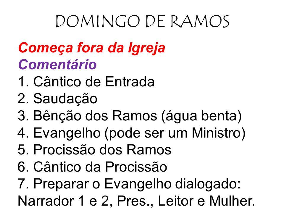 DOMINGO DE RAMOS Começa fora da Igreja Comentário