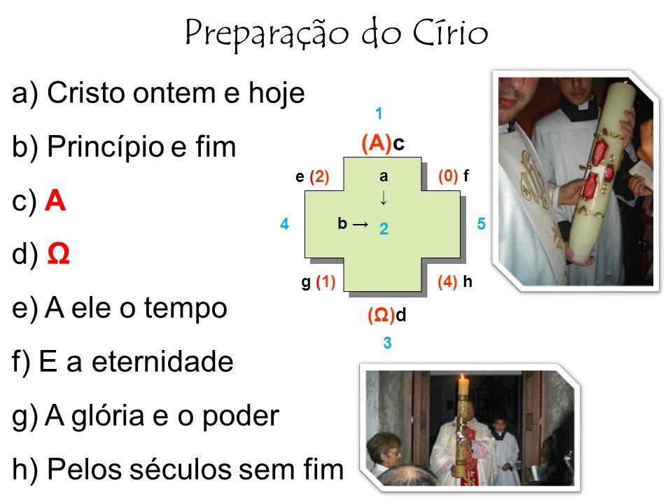 Preparação do Círio a) Cristo ontem e hoje b) Princípio e fim c) A