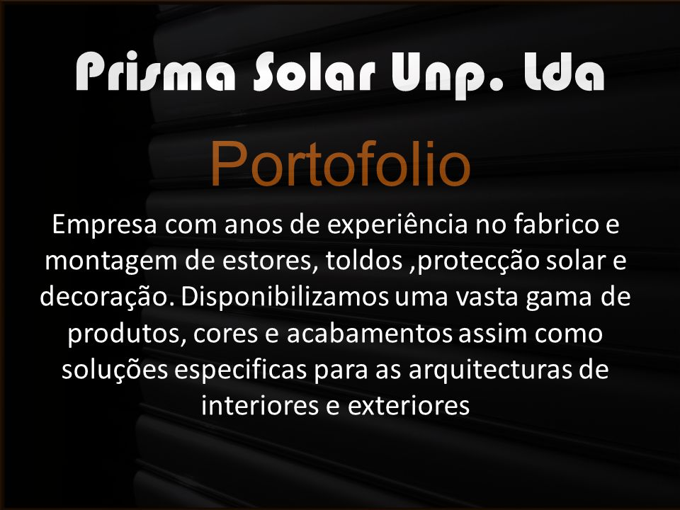 Portofolio Prisma Solar Unp. Lda