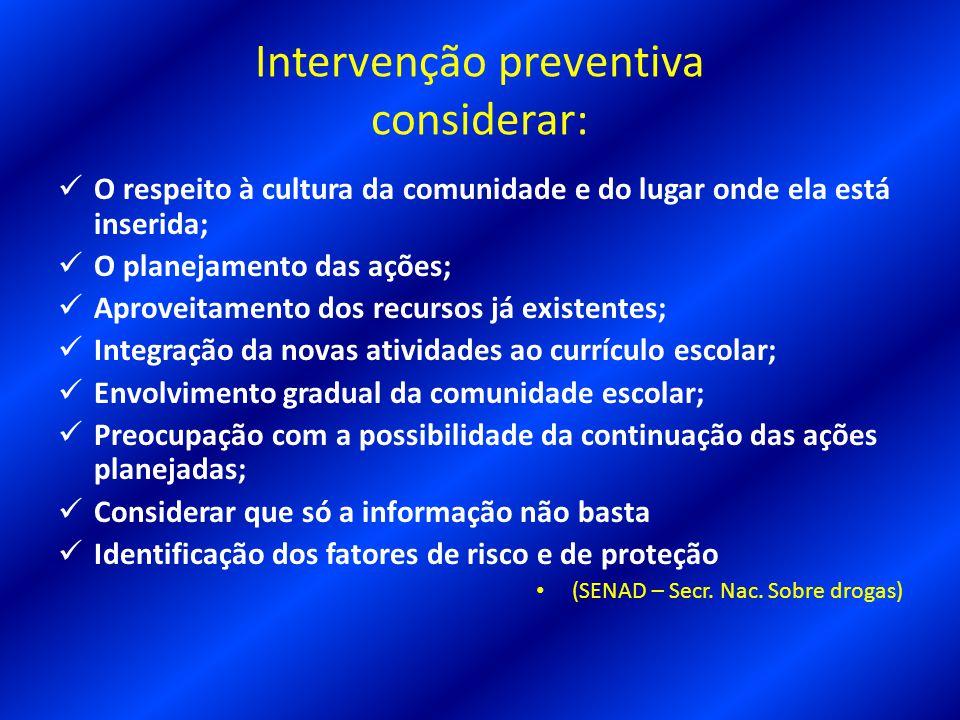 Intervenção preventiva considerar: