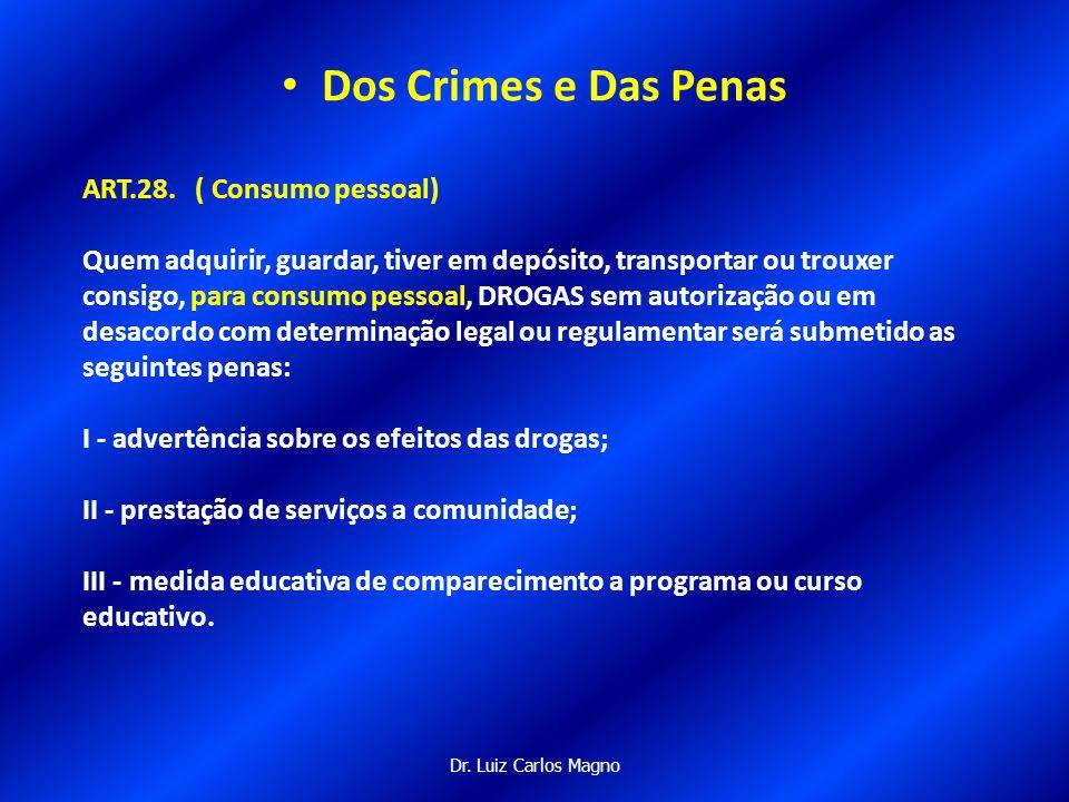Dos Crimes e Das Penas ART.28. ( Consumo pessoal)