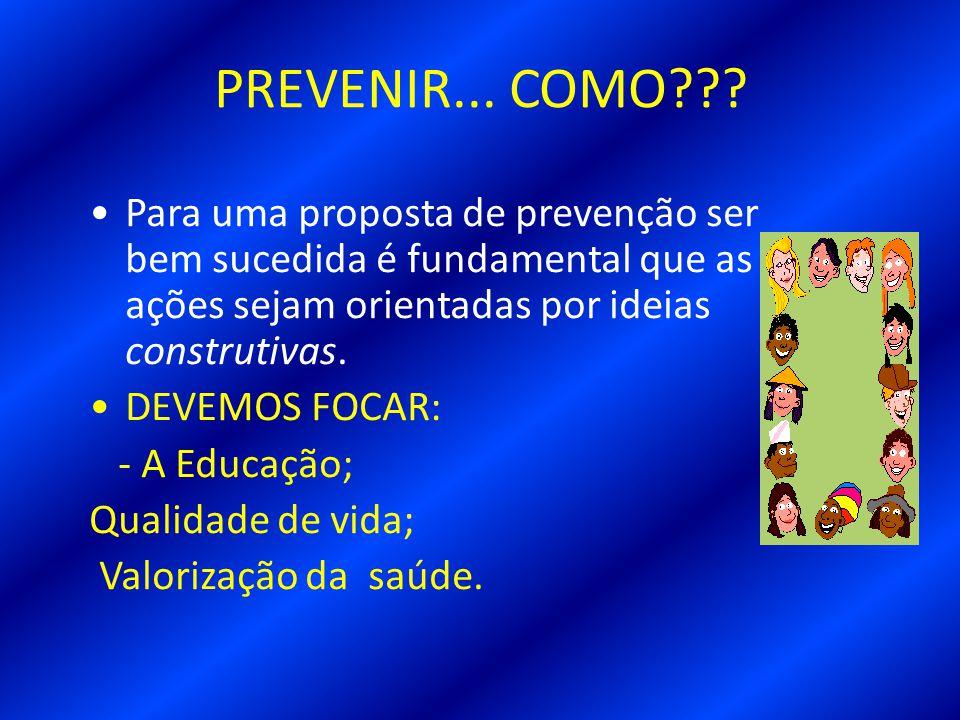 PREVENIR... COMO Para uma proposta de prevenção ser bem sucedida é fundamental que as ações sejam orientadas por ideias construtivas.