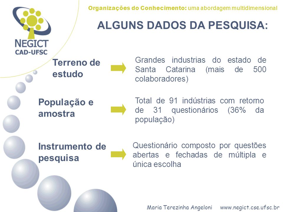 ALGUNS DADOS DA PESQUISA:
