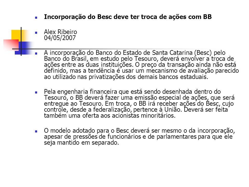 Incorporação do Besc deve ter troca de ações com BB