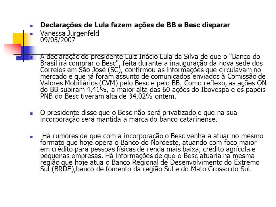 Declarações de Lula fazem ações de BB e Besc disparar