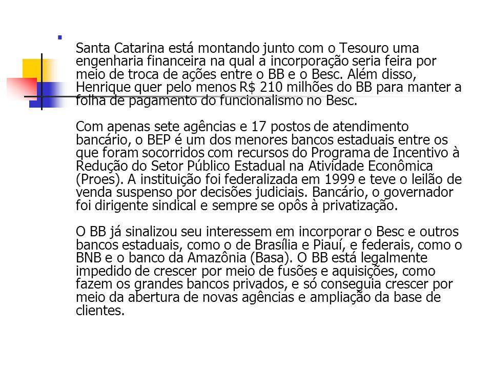 Santa Catarina está montando junto com o Tesouro uma engenharia financeira na qual a incorporação seria feira por meio de troca de ações entre o BB e o Besc.