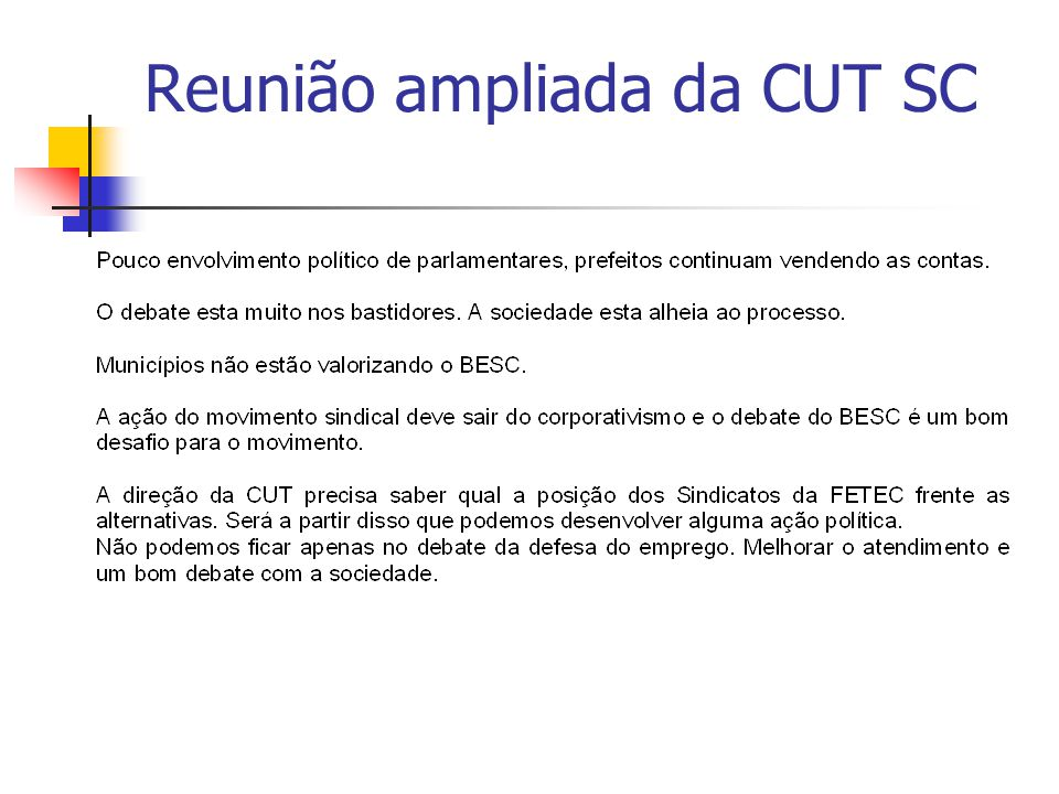 Reunião ampliada da CUT SC