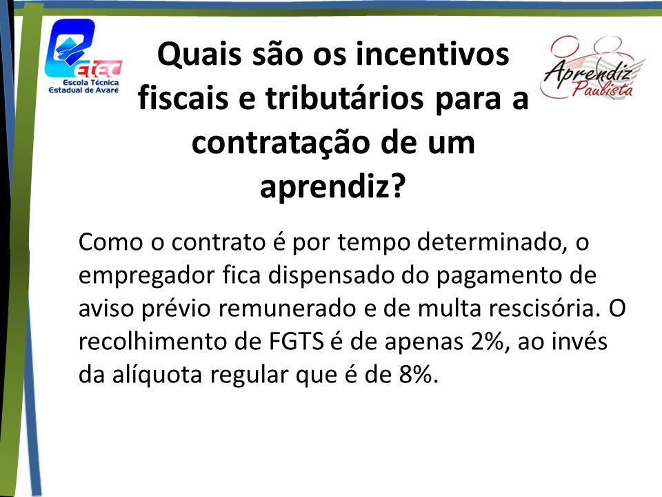 Quais são os incentivos fiscais e tributários para a contratação de um aprendiz