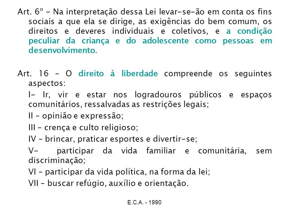 Art. 16 – O direito à liberdade compreende os seguintes aspectos: