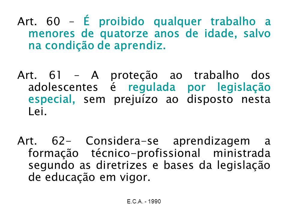 Art. 60 – É proibido qualquer trabalho a menores de quatorze anos de idade, salvo na condição de aprendiz.