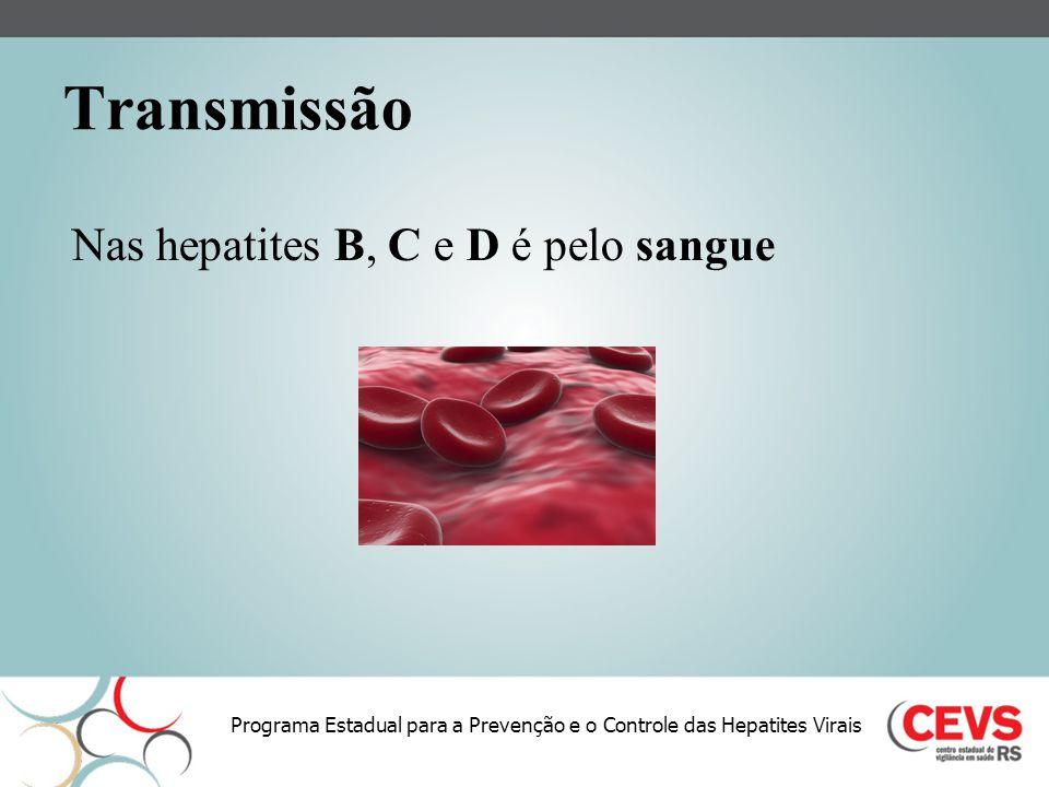 Transmissão Nas hepatites B, C e D é pelo sangue
