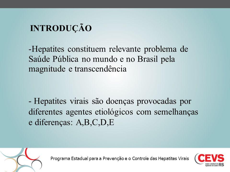 INTRODUÇÃO Hepatites constituem relevante problema de Saúde Pública no mundo e no Brasil pela magnitude e transcendência.