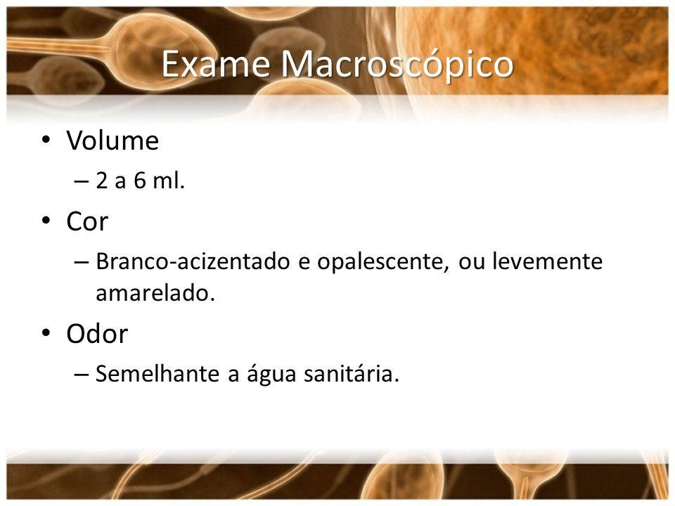 Exame Macroscópico Volume Cor Odor 2 a 6 ml.