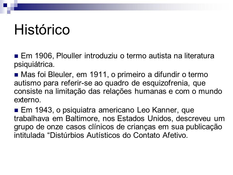 Histórico Em 1906, Plouller introduziu o termo autista na literatura psiquiátrica.