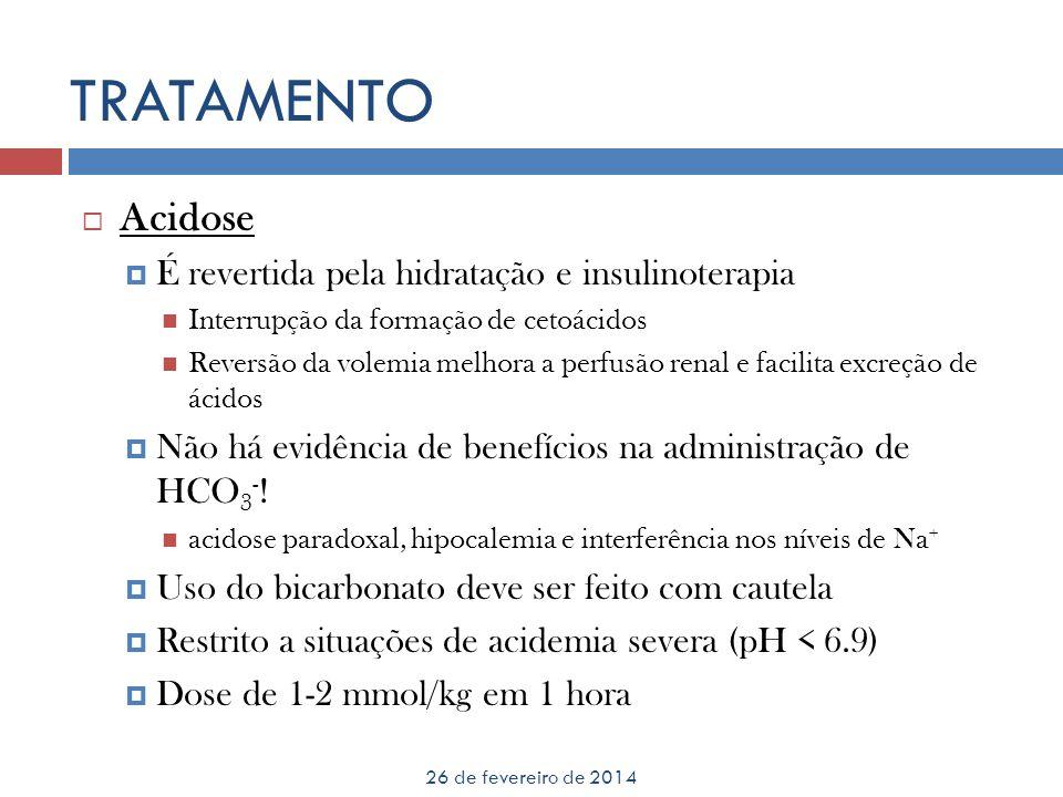 TRATAMENTO Acidose É revertida pela hidratação e insulinoterapia