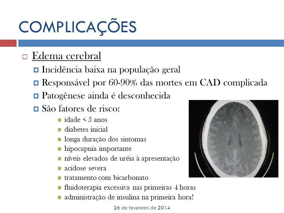 COMPLICAÇÕES Edema cerebral Incidência baixa na população geral
