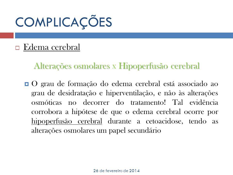Alterações osmolares x Hipoperfusão cerebral