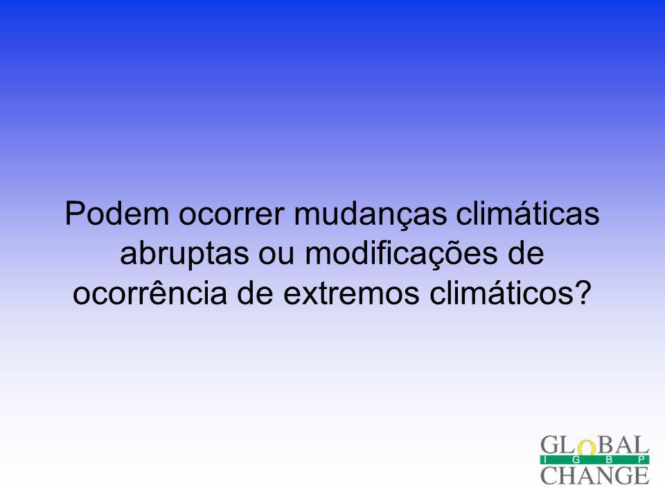 Podem ocorrer mudanças climáticas abruptas ou modificações de ocorrência de extremos climáticos