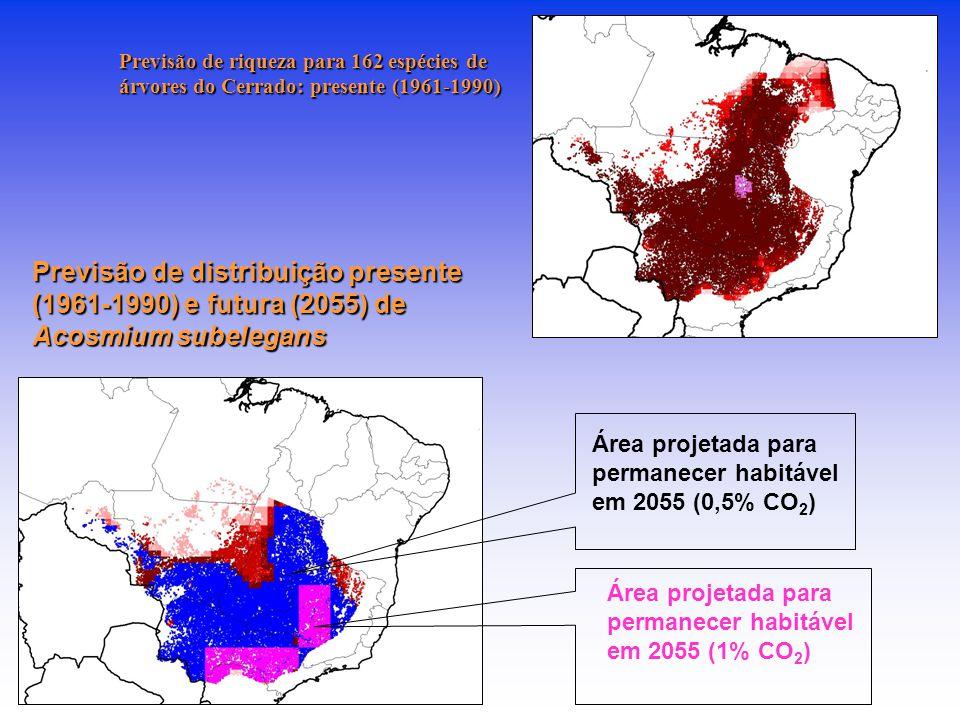 Previsão de riqueza para 162 espécies de árvores do Cerrado: presente (1961-1990)