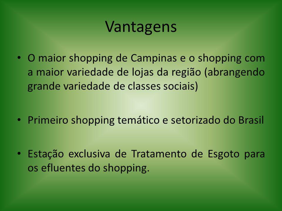 Vantagens O maior shopping de Campinas e o shopping com a maior variedade de lojas da região (abrangendo grande variedade de classes sociais)
