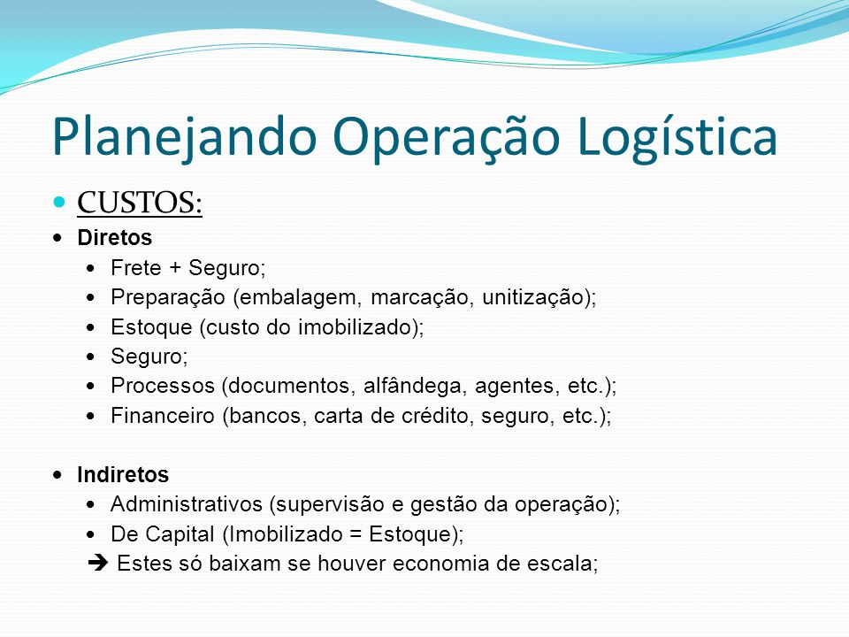Planejando Operação Logística