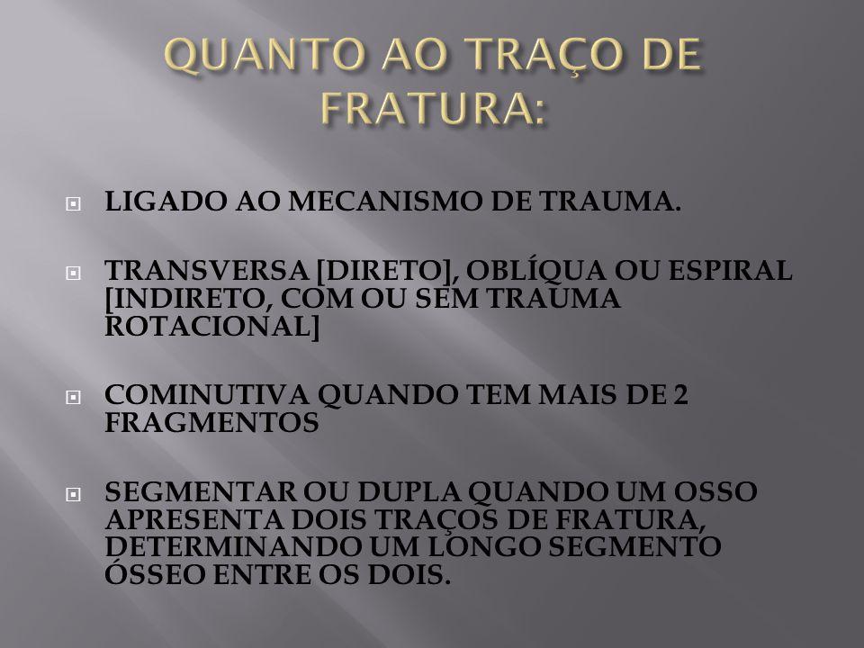 QUANTO AO TRAÇO DE FRATURA:
