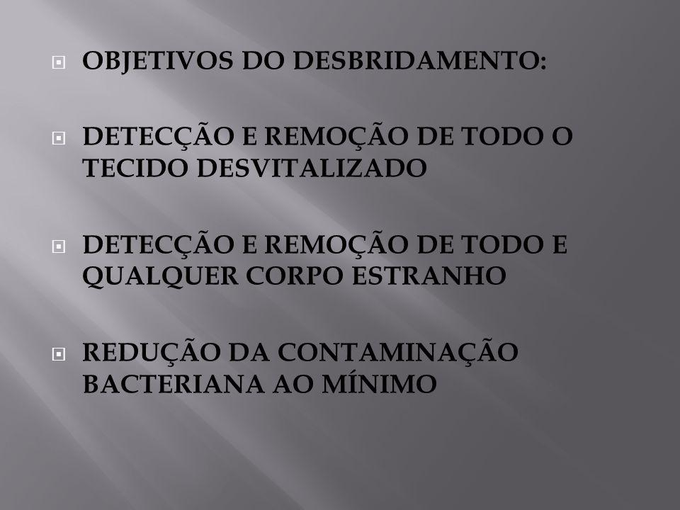 OBJETIVOS DO DESBRIDAMENTO: