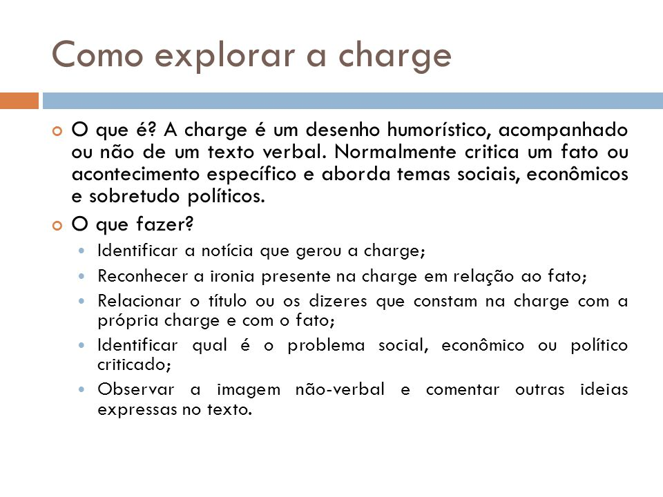 Como explorar a charge