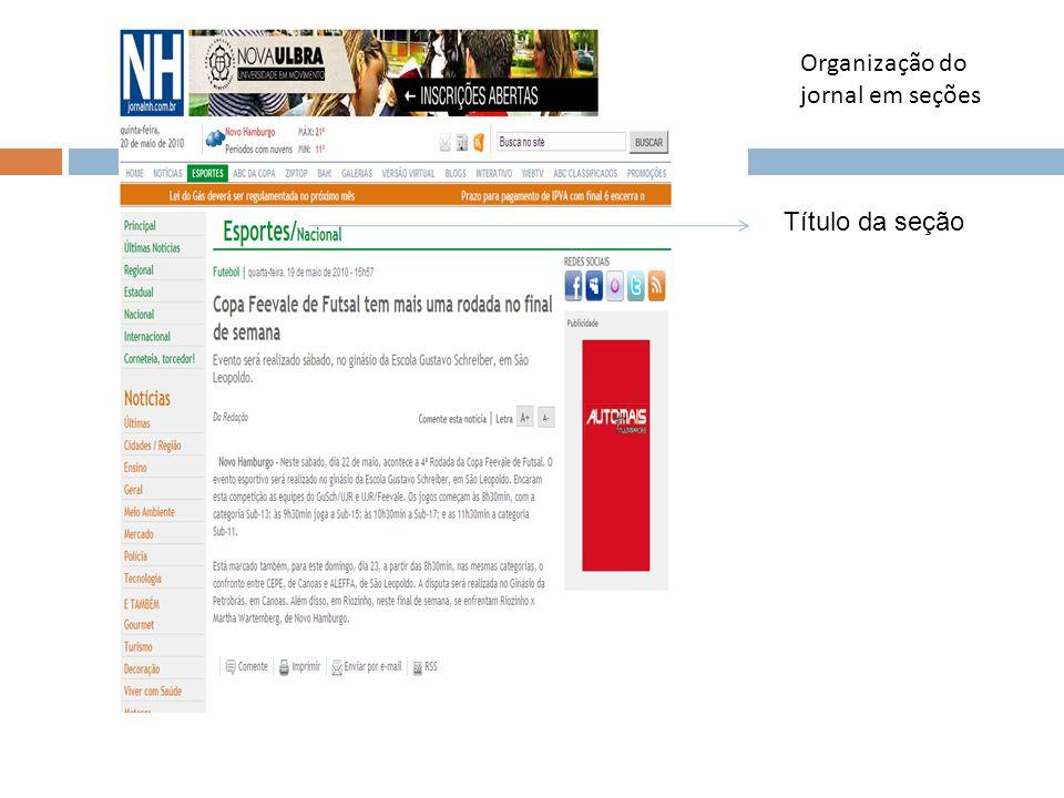 Organização do jornal em seções