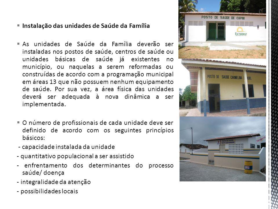 Instalação das unidades de Saúde da Família