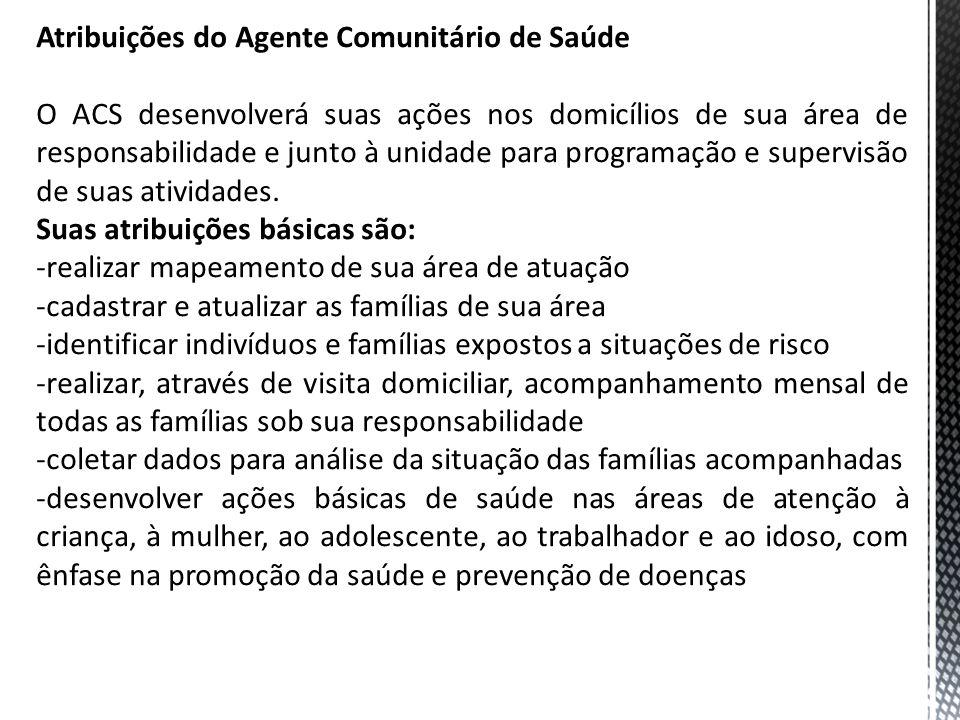 Atribuições do Agente Comunitário de Saúde